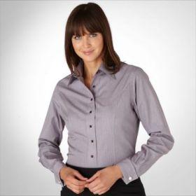 Женская рубашка под запонки серая в полоску T.M.Lewin приталенная Fitted (44066)