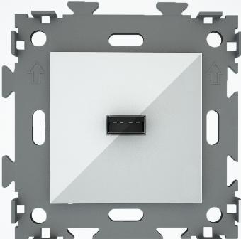 """Розетка USB белая """"Эстетика"""" GL-W201U-WCM"""