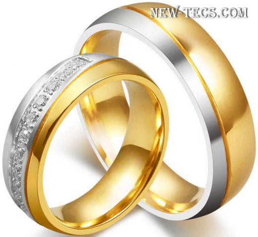 Двухцветные обручальные кольца