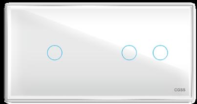 Трехлинейная панель стеклянная белая на два поста CGSS WT-P03W