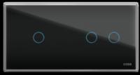 Трехлинейная панель стеклянная черная на два поста CGSS WT-P03B