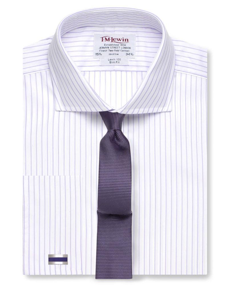 c0e4c479ef0 Мужская рубашка под запонки белая в сиреневую полоску T.M.Lewin приталенная  Slim Fit