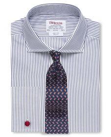 Мужская рубашка под запонки белая в полоску цвета морской волны T.M.Lewin приталенная Slim Fit (55133)