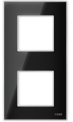 "Двухпостовая рамка вертикальная стеклянная черная ""Эстетика"" GL-VP102-BC"