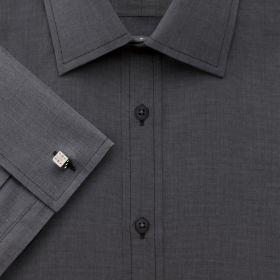 Мужская рубашка под запонки темно-серая Charles Tyrwhitt приталенная Slim Fit (FF025CHA)