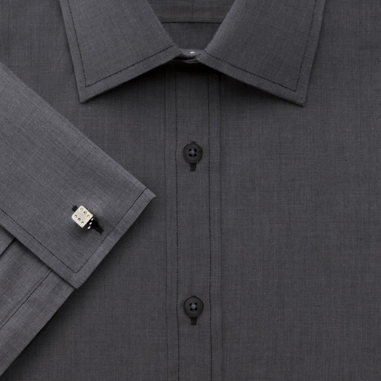 151161c7b96 Мужская рубашка под запонки Англия купить Москва темно-серая Charles  Tyrwhitt приталенная Slim Fit