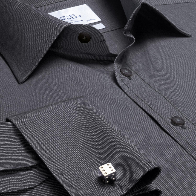 192323787c8 Мужская рубашка под запонки темно-серая Charles Tyrwhitt приталенная Slim  Fit (FF025CHA). Увеличить изображение