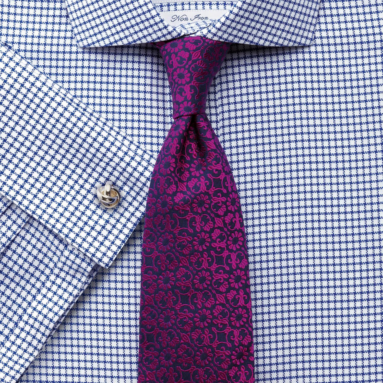 33426e9b36b английская Мужская рубашка под запонки купить Москва белая в синюю клетку Charles  Tyrwhitt не мнущаяся Non Iron сильно приталенная Extra Slim Fit