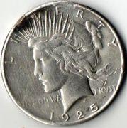 1 доллар. США.  Серебро. 1925 год.