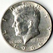 1/2 доллара. США. 1966 год. Серебро.