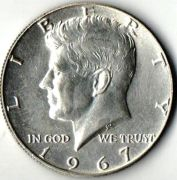 1/2 доллара. США. 1967 год. Серебро.