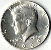 1/2 доллара. США. 1969 год.  Серебро.