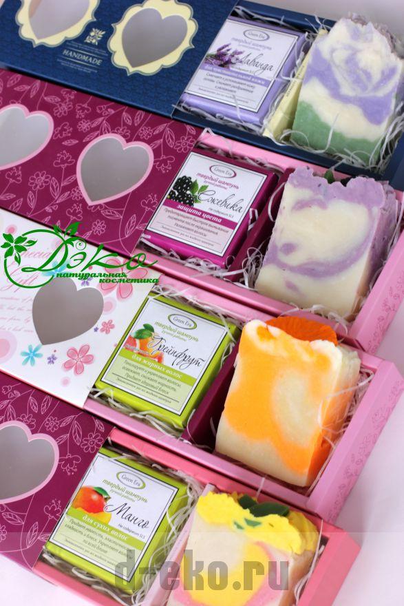Подарочные наборы твёрдый шампунь + натуральное мыло