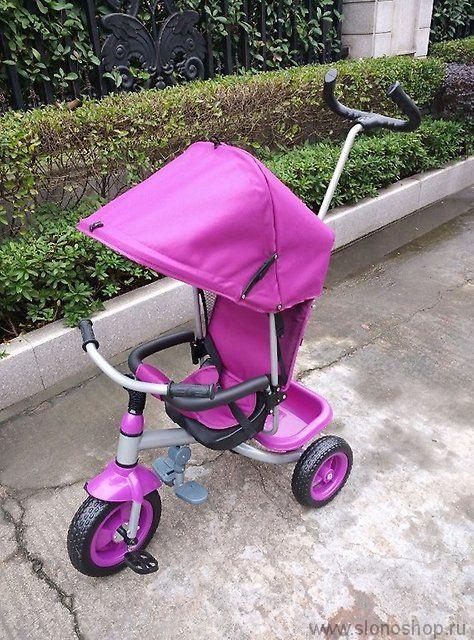 Велосипед 3х колесный с толкателем (фиолетовый)