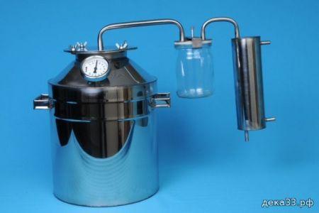 Самогонный аппарат ВЛАДИМИРСКИЙ 20л (широкая горловина, стеклянный сухопарник)