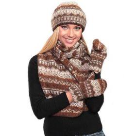 Комплект шапка, шарф, варежки вязаный из Исландской шерсти 08104-15