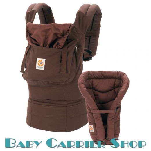 Комплект для новорожденного ERGO BABY CARRIER Bundle of Joy Organic Слинг-рюкзак «Dark Chocolate» + Вставка  «Infant Insert Heart2Heart Dark Chocolate» [Эрго Беби BCII9TODCKNL набор эргорюкзак+вставка Темный Шоколад]