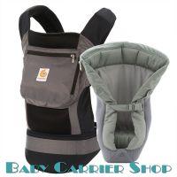 Комплект для новорожденного ERGO BABY CARRIER Bundle of Joy Performance Слинг-рюкзак «Black Charcoal» + Вставка «Infant Insert Heart2Heart Cool Mesh» [Эрго Беби BCIIP00138NL набор эргорюкзак+вставка Черный/Серый]
