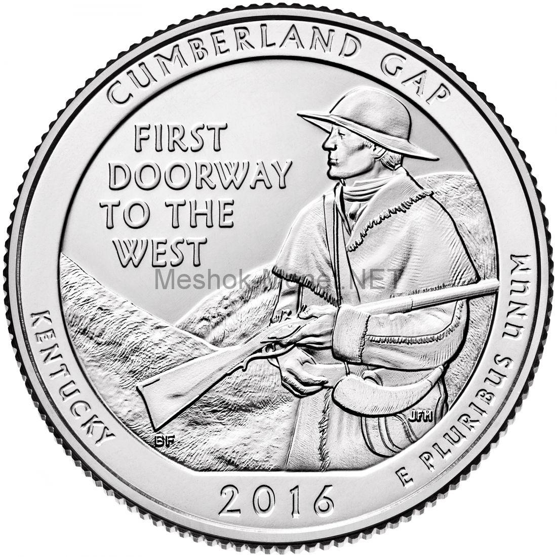 25 центов США 2016, 32-й Национальный парк Камберленд Гэп. Cumberland Gap