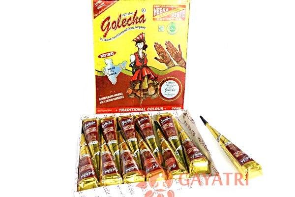 """Хна для мехенди в конусах """"Бордовая быстрый цвет"""",коробка 12 конусов. Производитель """"Голеча""""/ Mehandi Meroon Cones/Galecha/440/"""