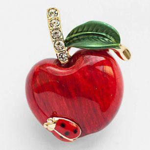 Брошь Красное яблоко эмаль