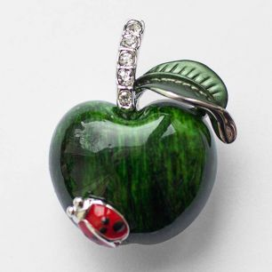 Брошь Зеленое яблоко эмаль