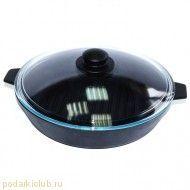 Сковорода с крышкой чугунная Добрыня DO-3303 (26 см) (код 38)