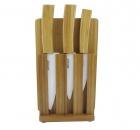 Набор керамических ножей ВН04 с бамбуковой ручкой + разделочная доска + подставка  (код 162)