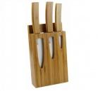 Набор керамических ножей ВН05 с бамбуковой ручкой + подставка  (код 161)