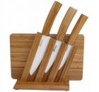 Набор керамических ножей ВН06 с бамбуковой ручкой + разделочная доска + подставка  (код 160)