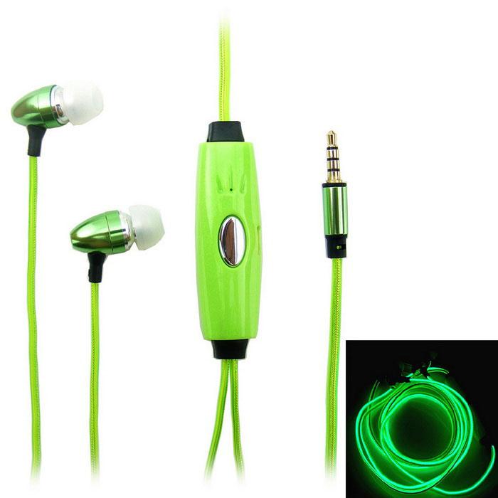 Светящиеся наушники EL Flowing Light (цвет: зеленый)