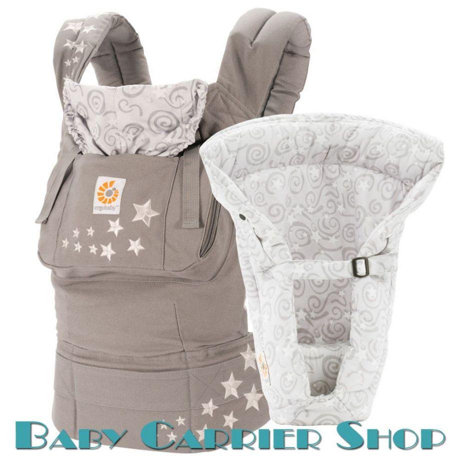 Комплект для новорожденного ERGO BABY CARRIER Bundle of Joy Original Слинг-рюкзак «Galaxy Grey» + Вставка  «Infant Insert Heart2Heart Galaxy Grey» [Эрго Беби BCIIA3F14 набор эргорюкзак+вставка Галакси Грей (серые звезды)]