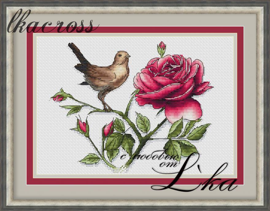 """""""Соловей и роза"""". Схема/набор для вышивания крестиком."""