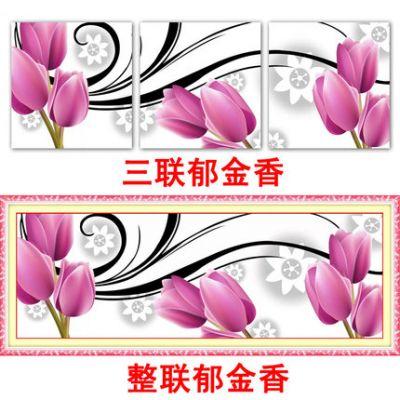 """Купить набор для вышивания крестом """"Тюльпаны"""" (шелковые нити, модульная картина триптих)"""