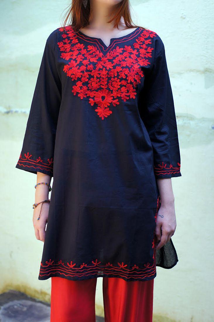 Женская индийская курта с вышивкой L (СПб)
