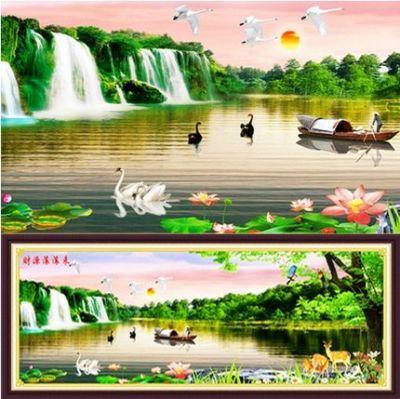 """Купить набор для вышивания крестом """"Водопады и озеро"""" (шелковые нити)"""