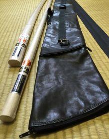 Комплект оружия (KUSAKURA): бокен, дзе, танто из Японии в чехле  (AIKI)  - LEATHER