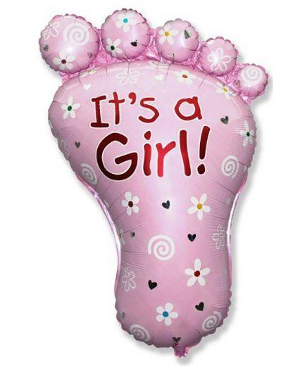 Стопа девочки - воздушный шар на выписку из роддома