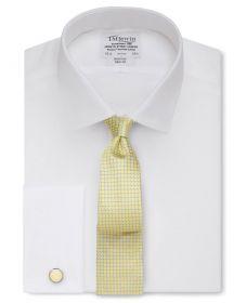 Мужская рубашка под запонки белая T.M.Lewin не мнущаяся Non Iron приталенная Slim Fit (53775)
