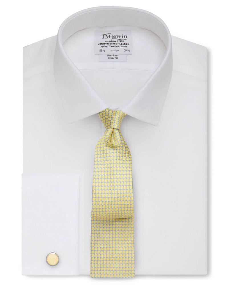 5474bedf15a английская Мужская рубашка под запонки купить Москва белая T.M.Lewin не  мнущаяся Non Iron приталенная Slim Fit