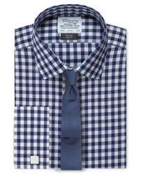 Мужская рубашка под запонки в клетку цвета морской волны T.M.Lewin не мнущаяся Non Iron приталенная Slim Fit (56867)