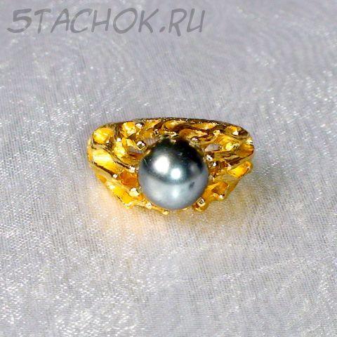 """Кольцо """"Черная жемчужинка"""" под золото"""