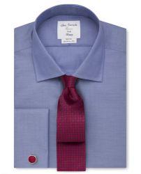 Мужская рубашка под запонки темно-синяя T.M.Lewin не мнущаяся Non Iron сильно приталенная Fitted (53831)