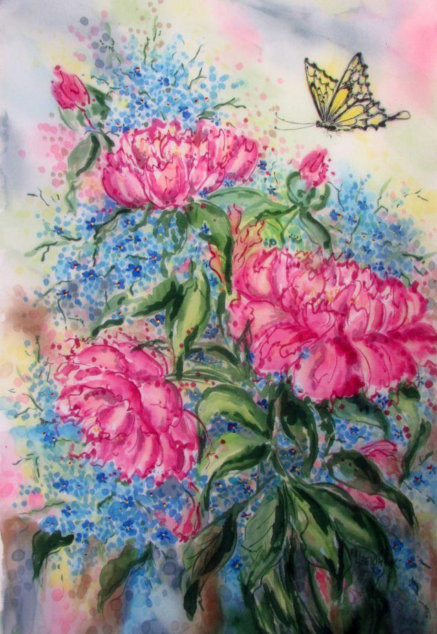 Картина Пион и бабочка