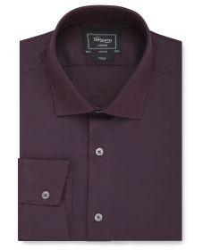 Мужская рубашка бордовая T.M.Lewin сильно приталенная Fitted (54515)
