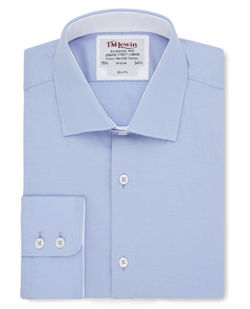 0222d0cdfa5 английская Мужская рубашка большого размера светло-синяя купить Москва  T.M.Lewin приталенная Slim Fit
