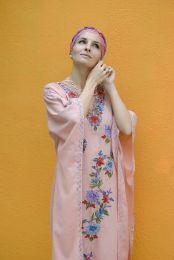 Розовое платье оверсайз из тиснёного хлопка (Москва)