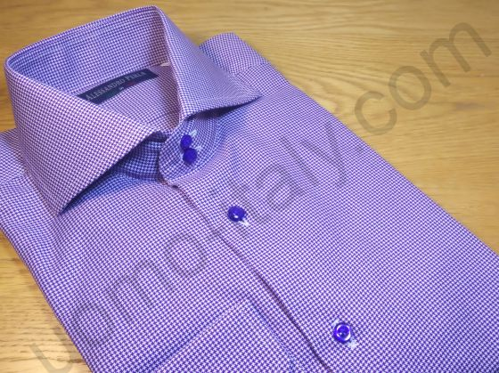"(арт.353-2) Рубашка сиреневая ""в лапку"" (последний размер 39)"