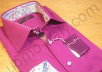 (арт.set67) Рубашка фиолетовая с контрастом (последний размер 38)