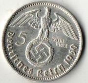 5 рейхсмарок. 1939 год.  Серебро.